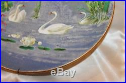 Pair Gorgeous French Faience Swan Plates Chargers Vintage Antique Pottery Rare