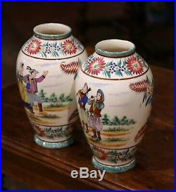 Pair of Early 20th Century French Hand Painted Faience Vases Signed HB Quimper