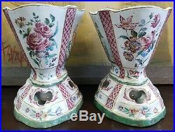 Pair of Mid 18th Century French Sceaux Penthieve Faience Porcelain Cachepots
