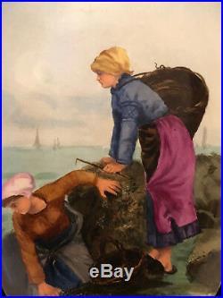 Peinture sur Faience Choisy le Roi Antique French Painting Pêche Marine