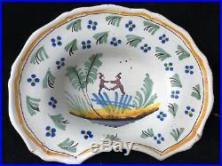 Plat à Barbe Faience Régionale Polychrome Earthenware antique french