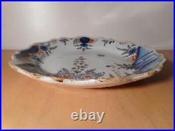 Plate Antique Faience Grinder 18 Century Ceramic Centre France Flower