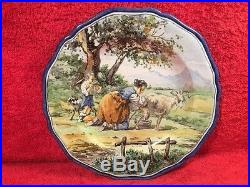 Plate Rare Antique Hand Painted French Faience Milk Maiden Plate c. 1800's, ff603