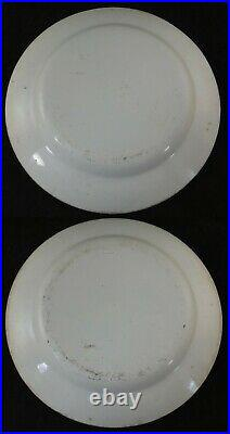Pr. Antique French Creil Faience 8 1/8 Hunting Plates. C. 1830
