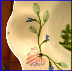 Quimper Antique French Faience Barber Bowl, Shaving Bowl Circa 1800-1850
