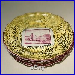 RARE 4 French Niderviller Faience Pottery Plates 1800-1829 w CC mark