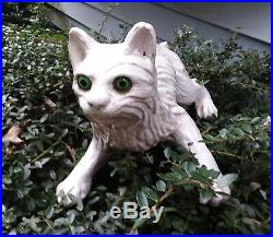 RARE ANTIQUE ROOF CLIMBING POTTERY CAT. GLASS EYES. FRENCH FAIENCE C. 1920's