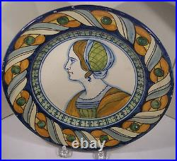 RARE EARLY ANTIQUE FRENCH FAIENCE QUIMPER PROVINCIAL HND PAiNTED 9 PLATE MAIDEN