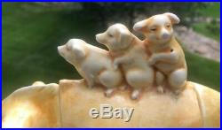 RARE German or French Faience Pig with Piglets Humidor