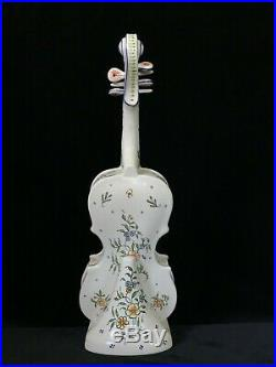 ROUEN VIOLIN & STAND Antique French Faience I Desvres, 16.7 inches, Signed c1920