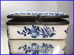Rare 18th C Majolica Dutch Delft Lambertus Cleffius Faience Dresser Trinket Box