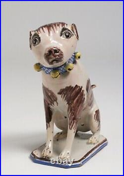 Rare 18th Century Brussels Faience Dog Figure / French-Belgium Pottery