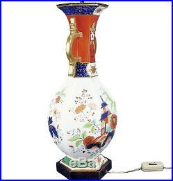 Rare 19th C. Creil et Montereau French Faience Porcelain Chinoiserie Vase Lamp
