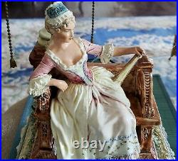 Rare 19th Century French Majolica Faience Woman On Bench Large Figurine Lamp