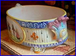 Rare Antique 19th C. French Quimper Majolica-faience Jardiniere Marked Hb Only