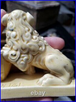 Rare Antique French Ceramic Match Holder For Aux Lions De Faience Toothpicks