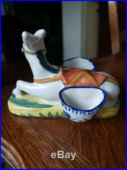 Rare Antique French Faience Quimper Resting Donkey Double Salt Handpainted Decor