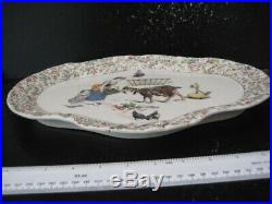 Rare Antique French Sarreguemines Enfants Richard Faience Story Tray 1875-1900