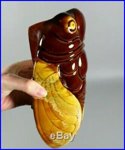 Rare Antique Mid Century Cicada VALLAURIS Signed French Majolica Wall Pocket