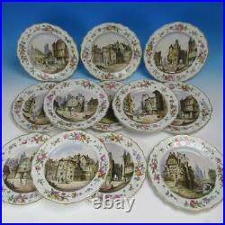 Rare Antique Niderviller France Faience Hand Painted Set of 12 Cabinet Plates