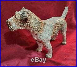Rare Antique Statue FRENCH FAIENCE DOG Sculpture Glass Eyes Life Size 22