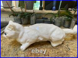 Rare Antique White Roof Climbing French Faience Cat Bavent