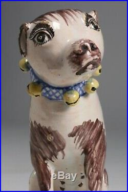 Rare Brussels Faience Pottery Folk Art Dog Figure / French-Belgium 18th Century