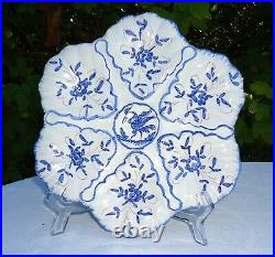 Rare French Antique Majolica / Faience Oyster Plate