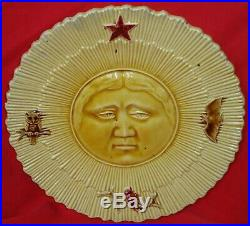 Rare French Antique Majolica Faience Plate With The Moon George Dreyfus