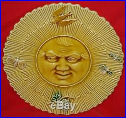 Rare French Antique Majolica Faience Plate With The Sun George Dreyfus