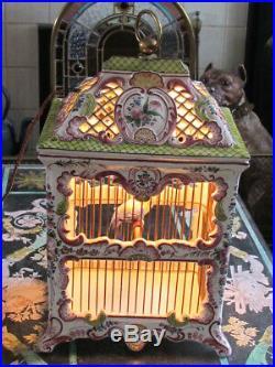 Rare French Faience Birdcage Lamp Ceramic Handpainted Earl of Shrewsbury History