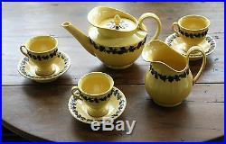 Rare French antique faience terre de Naples Sarreguemines Tea set 5 pcs 1830