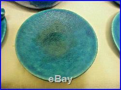 Rare Lachenal Antique Egyptian Blue Faience Pottery Art Deco Tea / Coffee Set