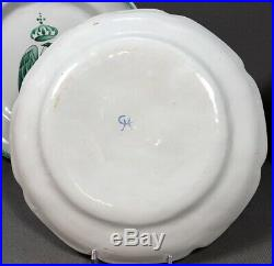 Rare Set Of 4 French Napoleanic Tin Glaze Pottery Faience Plates