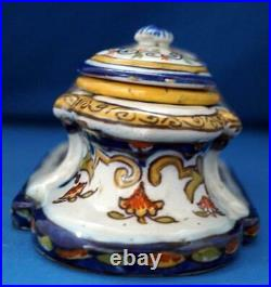 Rouen Double Inkwell French Continental Faience Pottery
