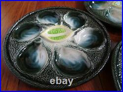 SIX FRENCH PLATES OYSTER LEMON FAIENCE MAJOLICA ST CLEMENT pattern 4589