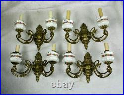 Set 4 French bronze swan animal figurine faience floral decor Wall lights sconce