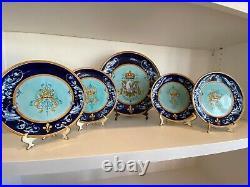 Set 5 Ulysse Blois Blue French Faience Plates Signed E (Emile) Balon Antique