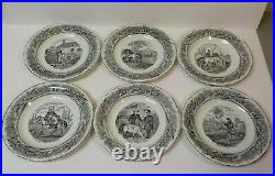 Set/6 French Faience Historical Transfer Ware 7.75 Plates, c. 1820-1850