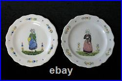 Set of (6) Antique French Henriot Quimper Faience Dinner Plates 9 3/4
