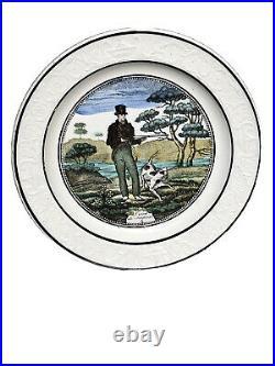 Set of 7 Rare 1820 P&H Choisy Faience Pottery Transfer Plates, Hunting Scenes