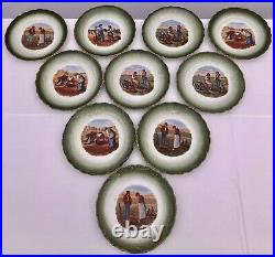 Set of Ten Faience Transferware Plates With Millet Farming Scenes, Early 1900s