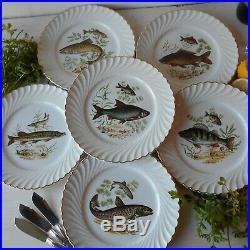 Six Antique, French, Luneville Fish Plates.'Lunéville Faience' Fish Plate Set
