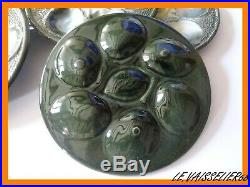 Six French Plates Oyster Lemon Faience Majolica St Clement