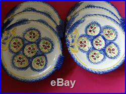 Six Larges Plates Oyster Faience Majolica French Pornic Bretagne 111/4