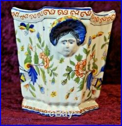 Spectacular 7 Antique 18th Century Rouen France Faience Cache Pot