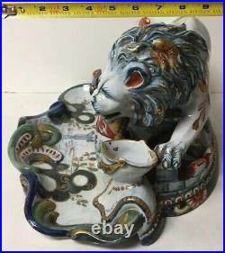 Spectacular Antique French St. Clement Faience Lion Inkwell
