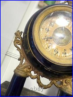 Superb Antique French Clock Portico Pillar Shabby Gilded 1900 Romantic Faience