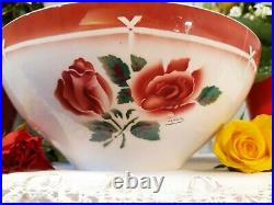 Superb antique french Salad Bowl Digoin Sarreguemines red roses Art deco 1950s