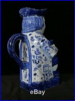 TOBY JUG- Ordinary Drinker Desvres French Faience ANTIQUE Old Delft Mark c. 1910